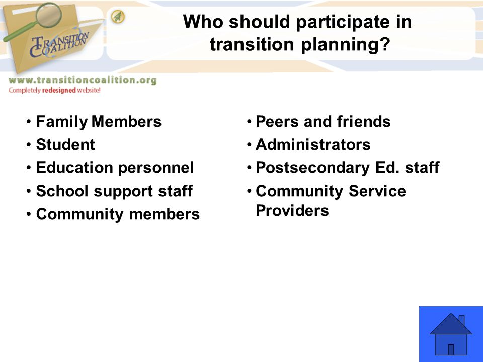 Who should participate in transition planning