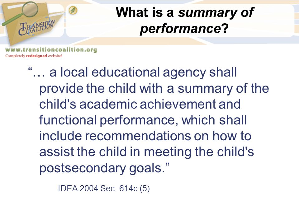 What is a summary of performance