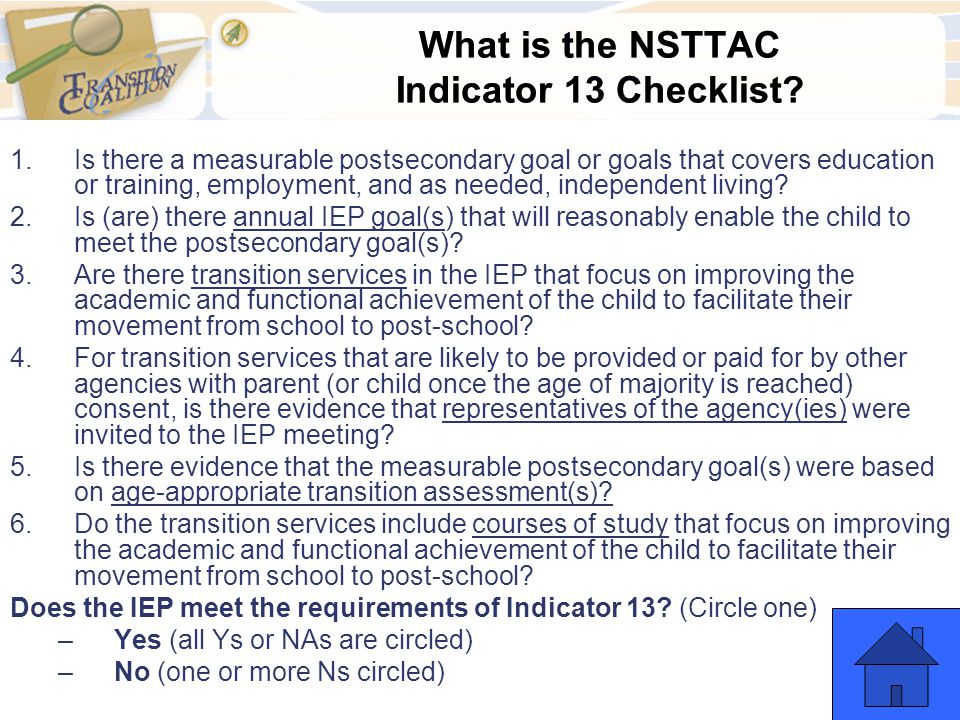 What is the NSTTAC Indicator 13 Checklist