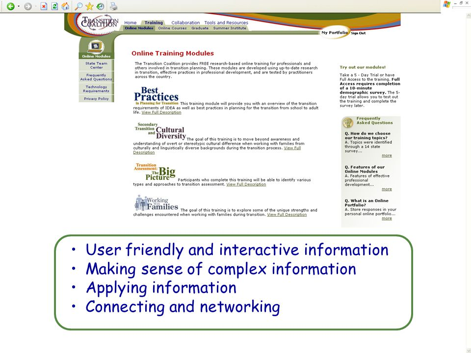 User friendly and interactive information
