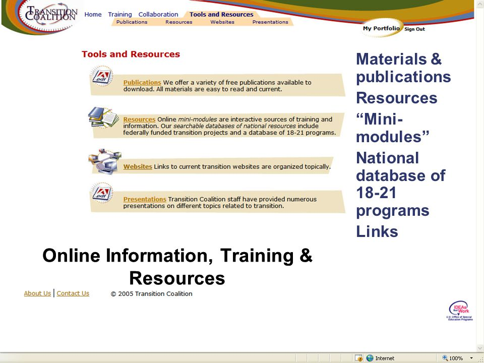 Online Information, Training & Resources