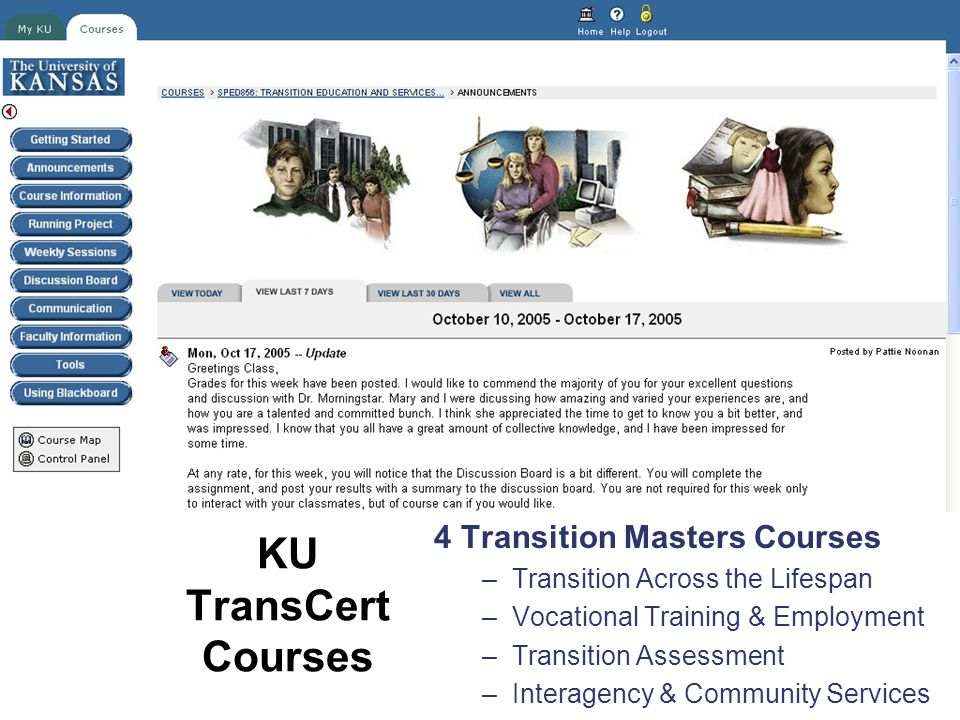 KU TransCert Courses 4 Transition Masters Courses