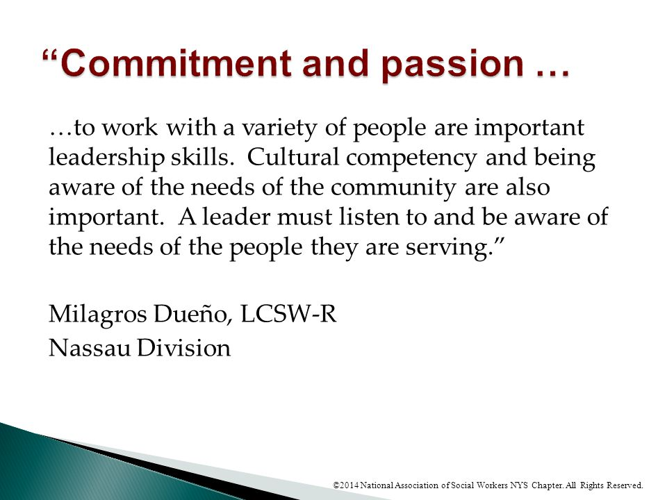 Commitment and passion …