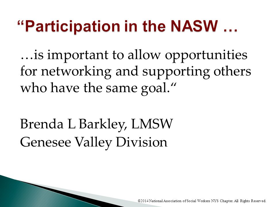 Participation in the NASW …