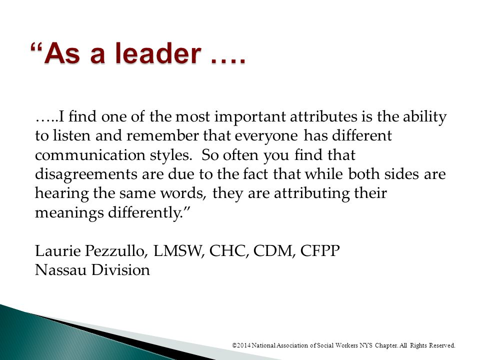 As a leader ….