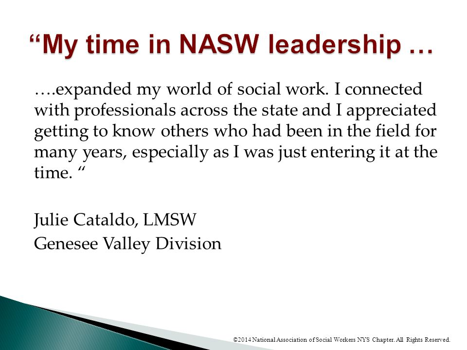 My time in NASW leadership …