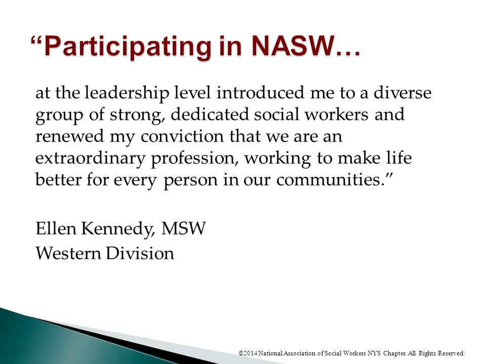 Participating in NASW…
