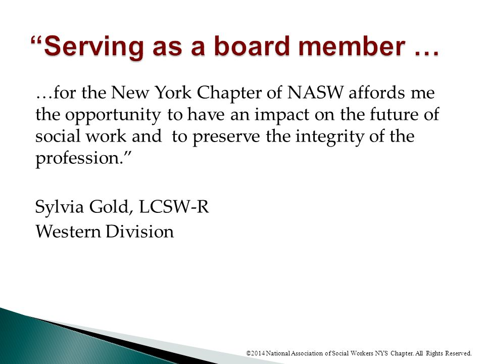 Serving as a board member …