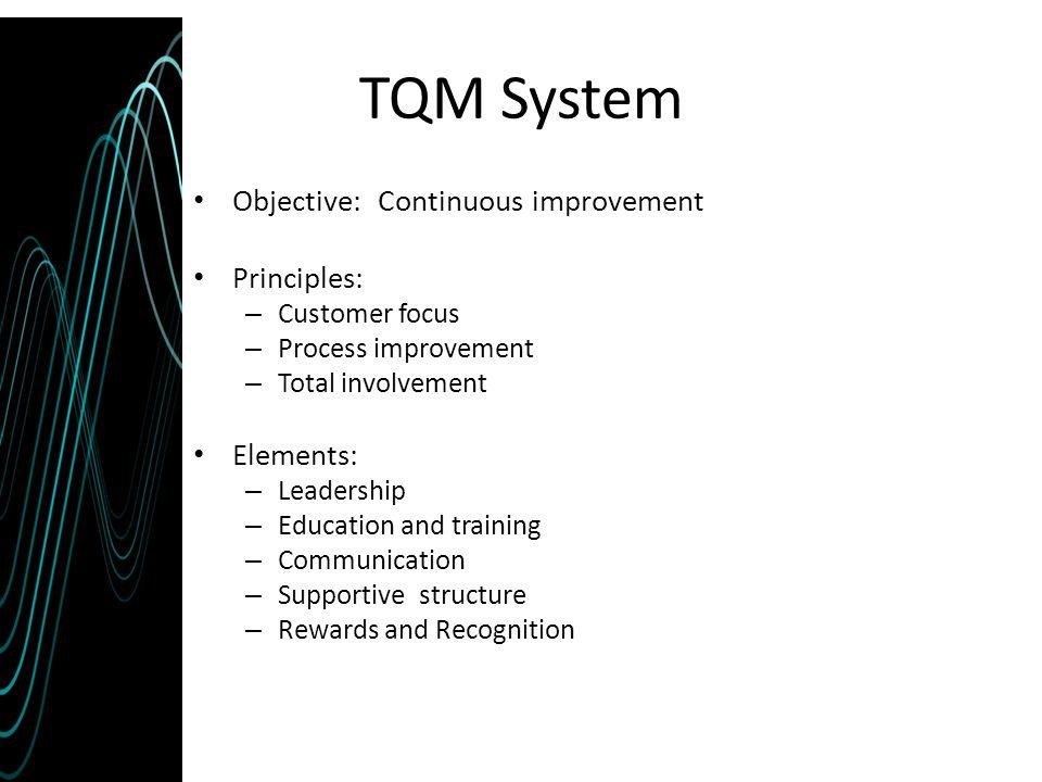 TQM System Objective: Continuous improvement Principles: Elements: