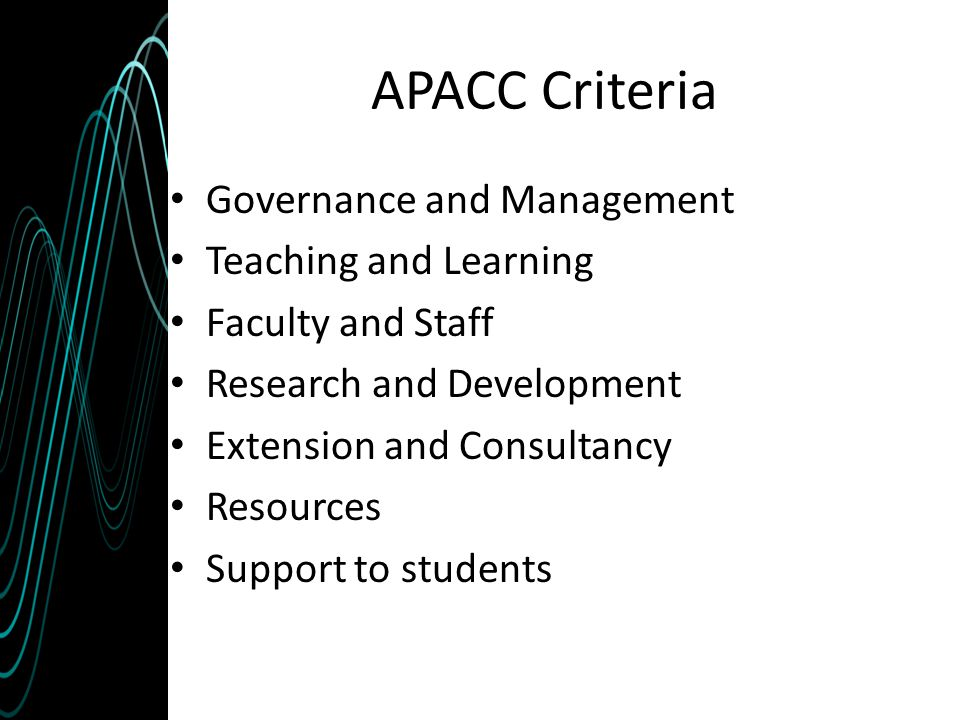 APACC Criteria Governance and Management Teaching and Learning