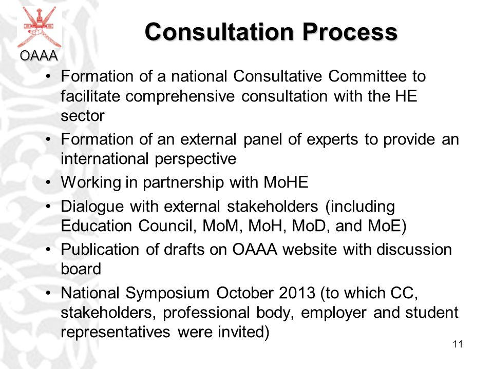 Consultation Process OAAA. Formation of a national Consultative Committee to facilitate comprehensive consultation with the HE sector.
