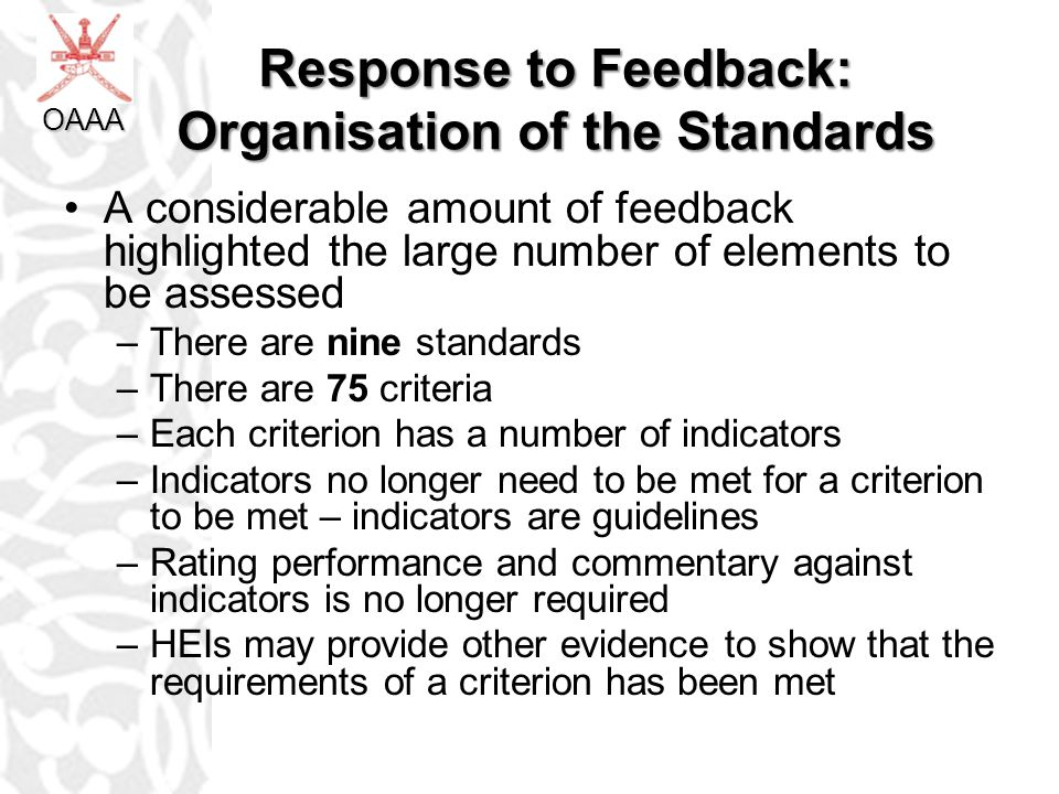 Response to Feedback: Organisation of the Standards