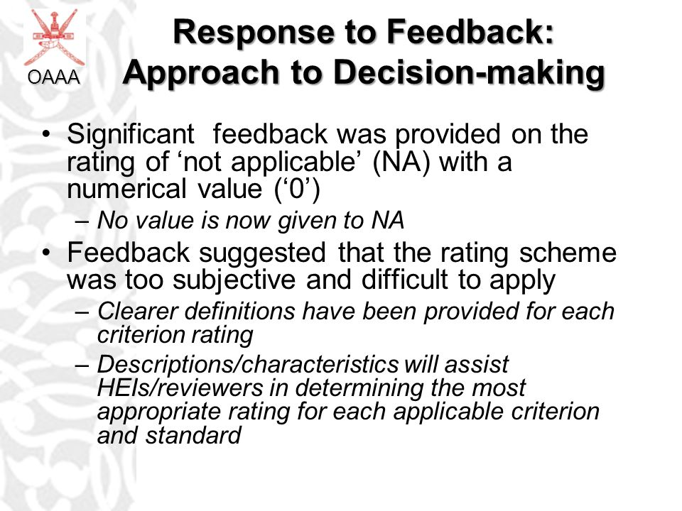 Response to Feedback: Approach to Decision-making