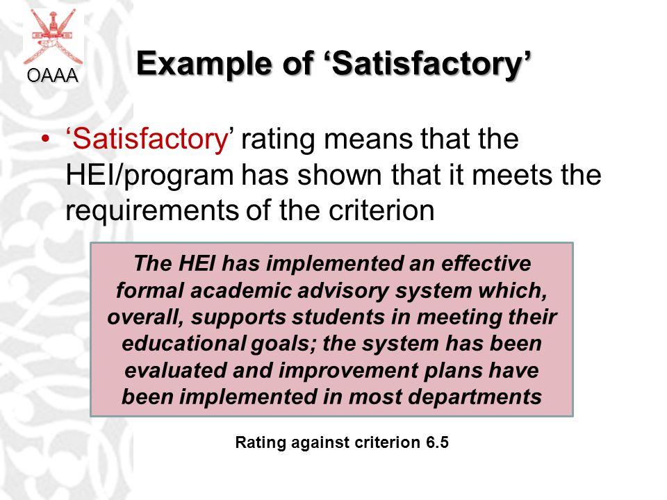 Example of 'Satisfactory'