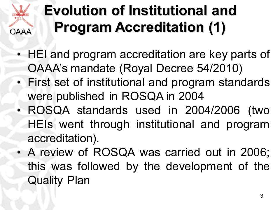 Evolution of Institutional and Program Accreditation (1)