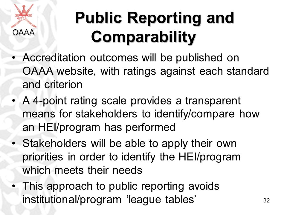 Public Reporting and Comparability