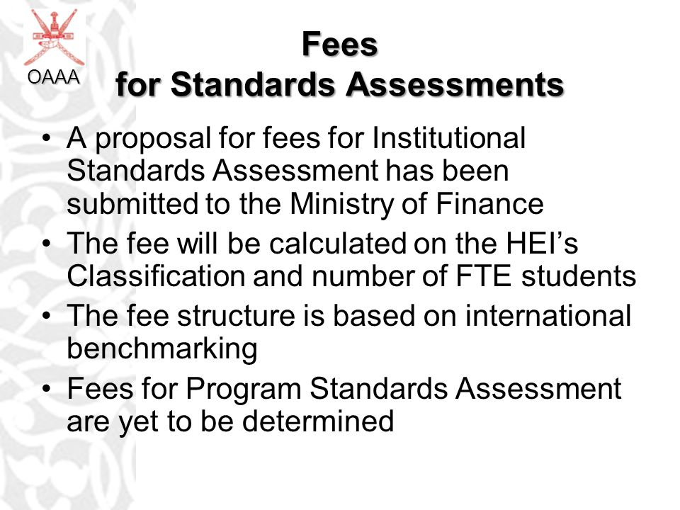 Fees for Standards Assessments