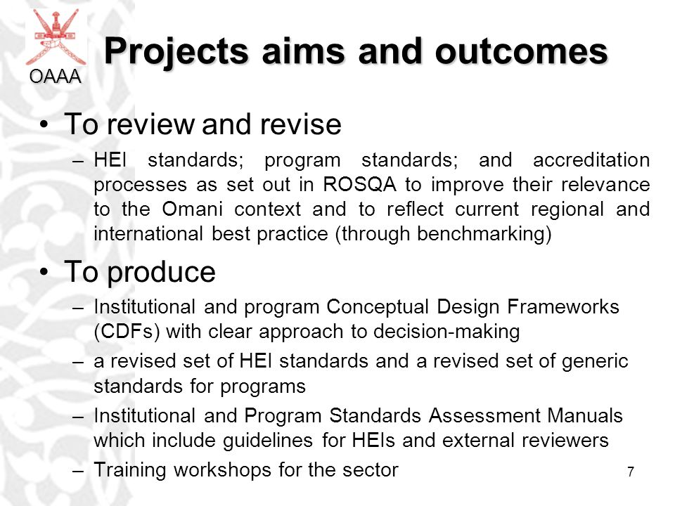 Projects aims and outcomes