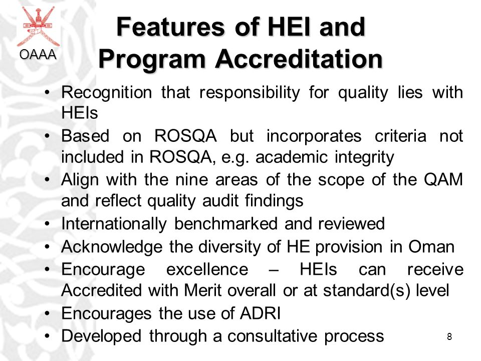 Features of HEI and Program Accreditation