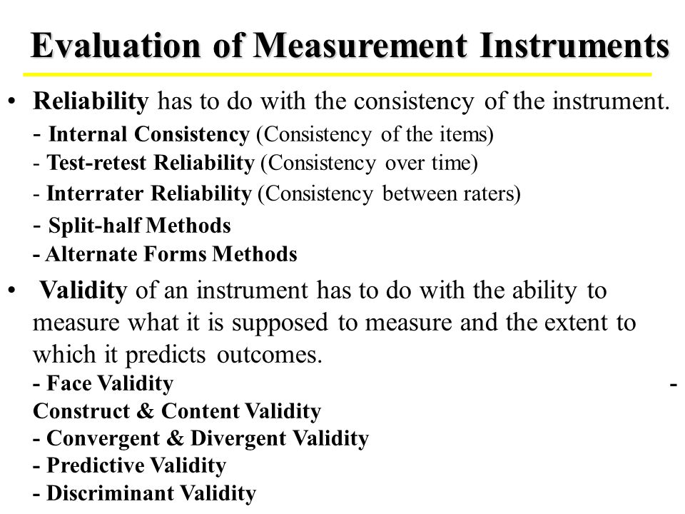 Evaluation of Measurement Instruments