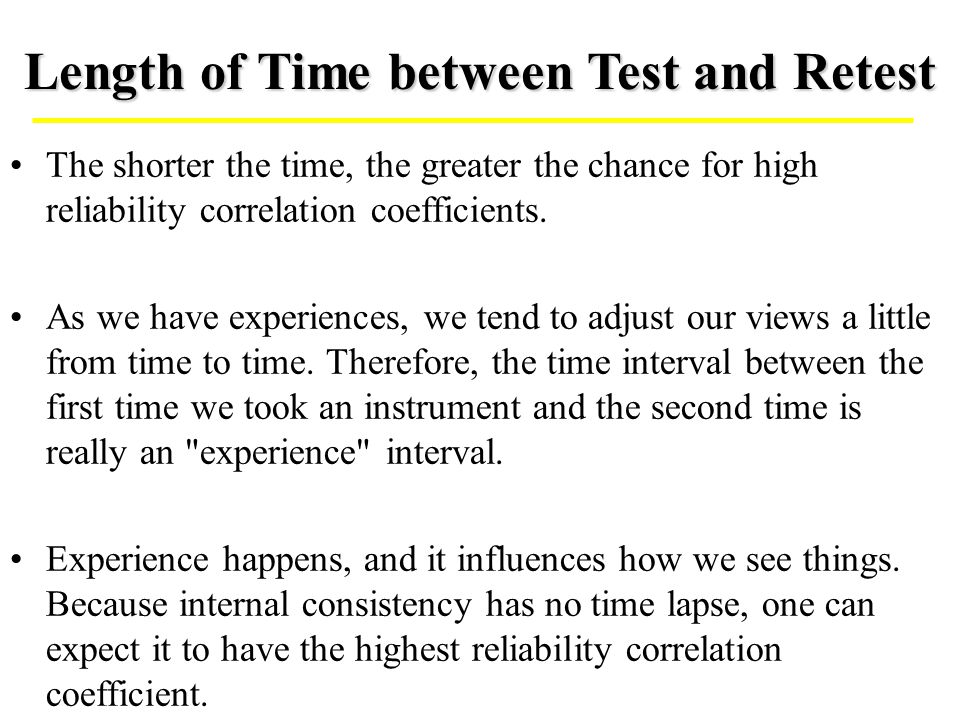 Length of Time between Test and Retest