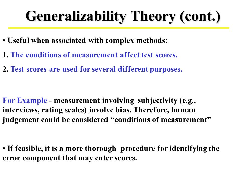 Generalizability Theory (cont.)