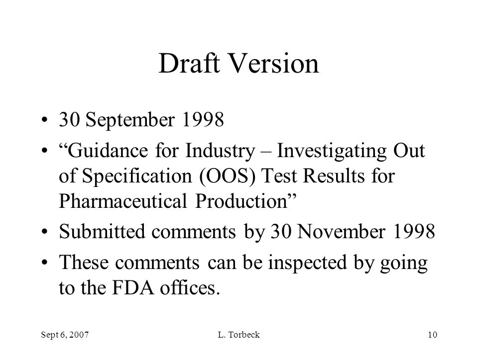 Draft Version 30 September 1998