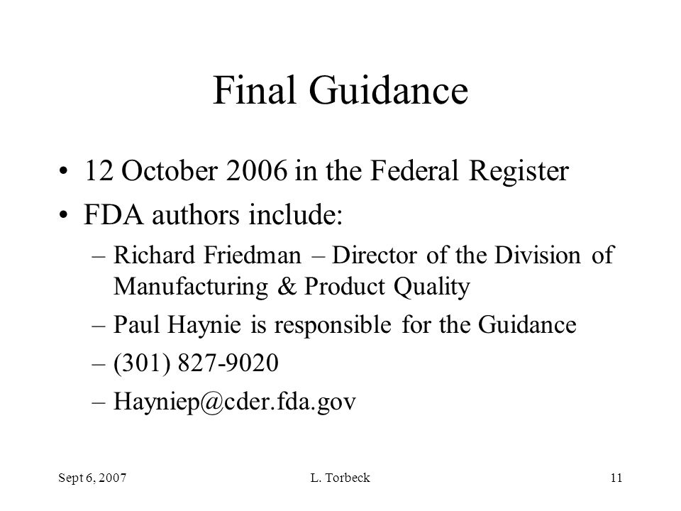 Final Guidance 12 October 2006 in the Federal Register