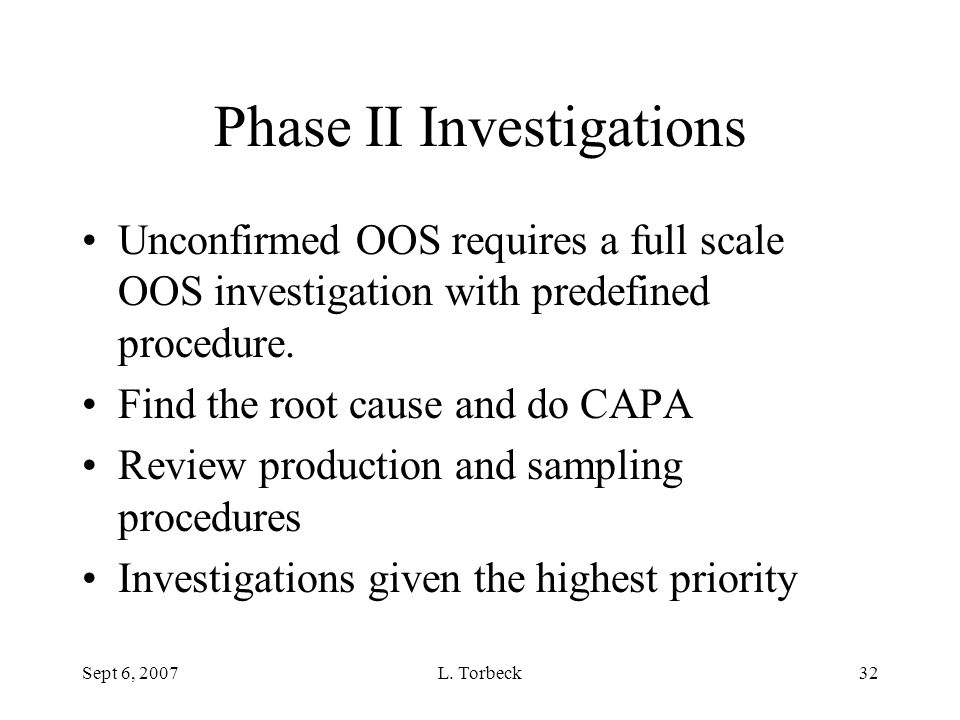 Phase II Investigations