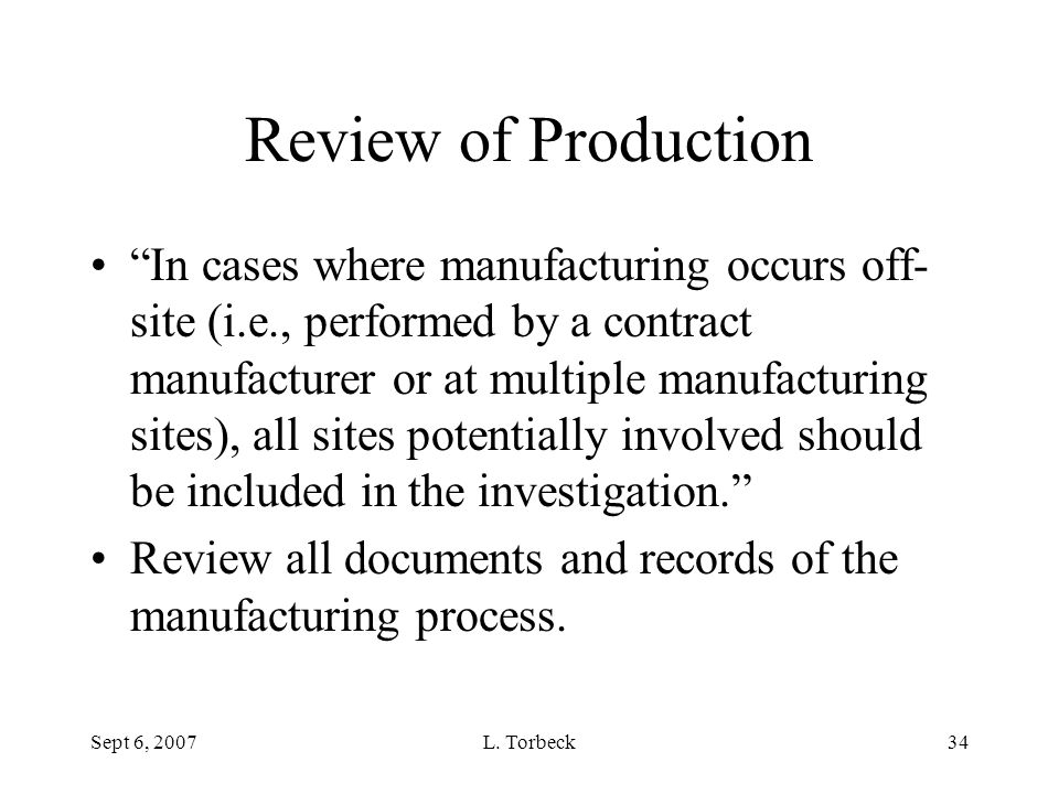 Review of Production