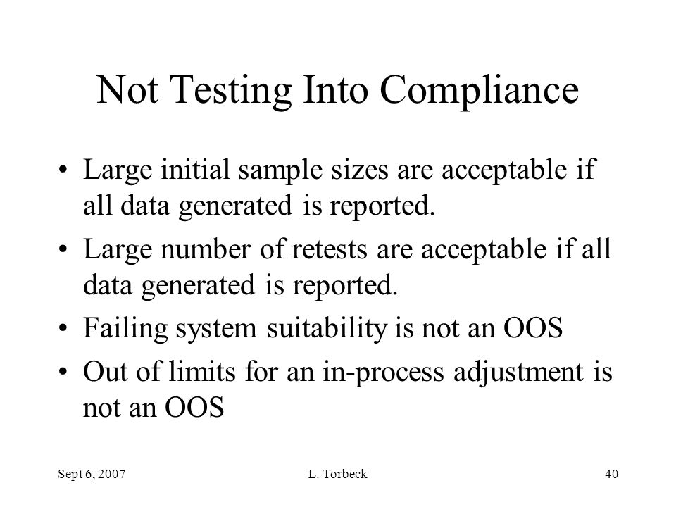 Not Testing Into Compliance