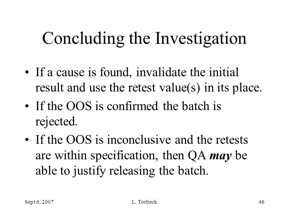 Concluding the Investigation