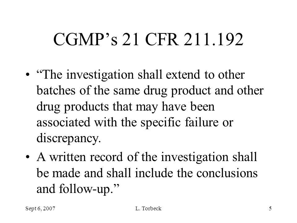 CGMP's 21 CFR 211.192