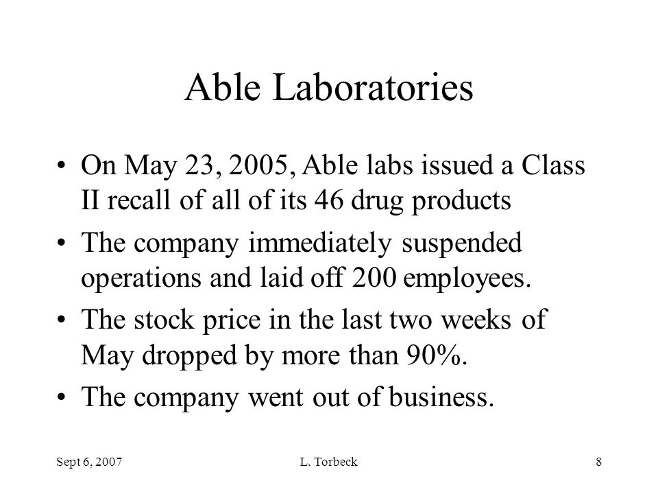 Able Laboratories On May 23, 2005, Able labs issued a Class II recall of all of its 46 drug products.