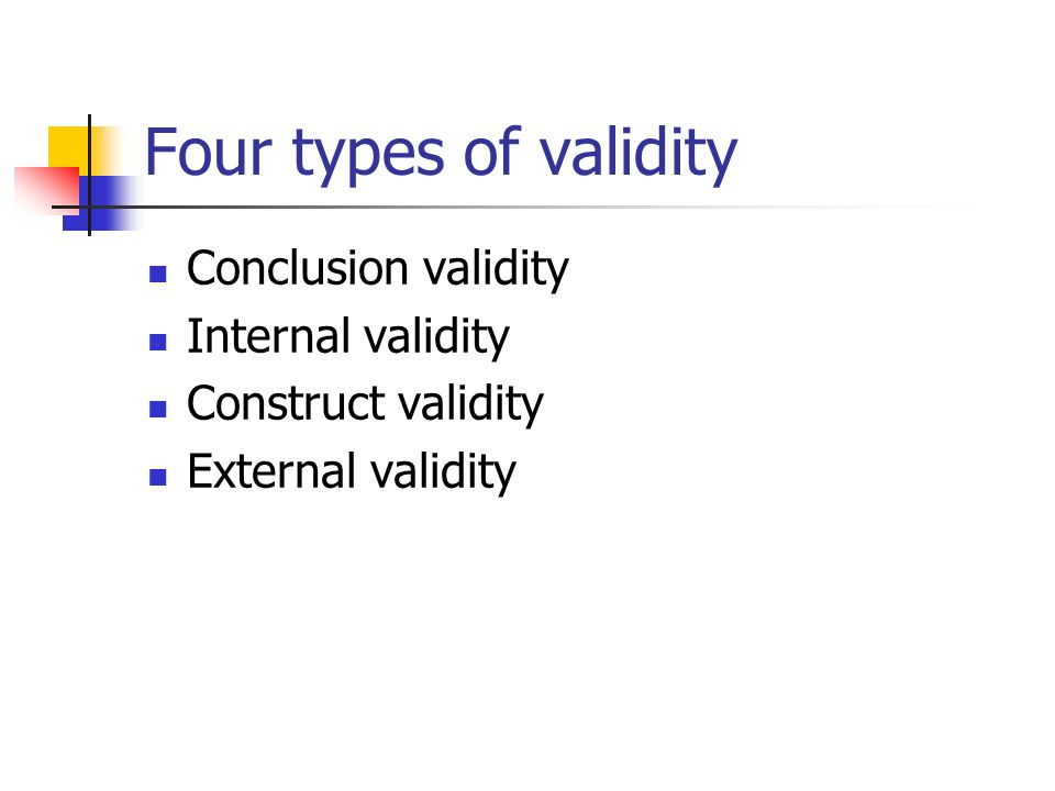 Four types of validity Conclusion validity Internal validity