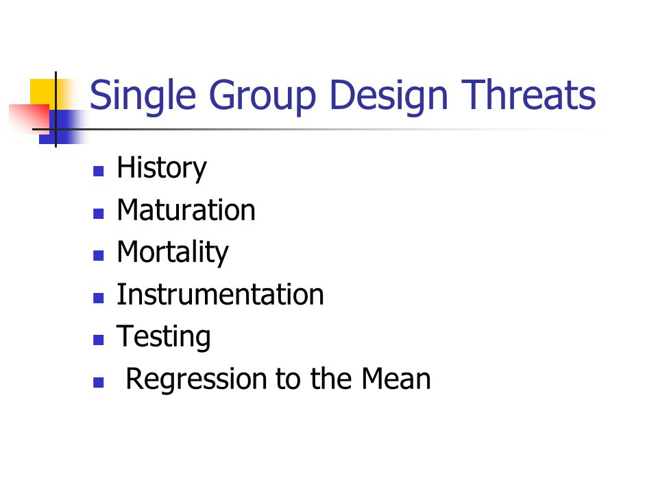 Single Group Design Threats