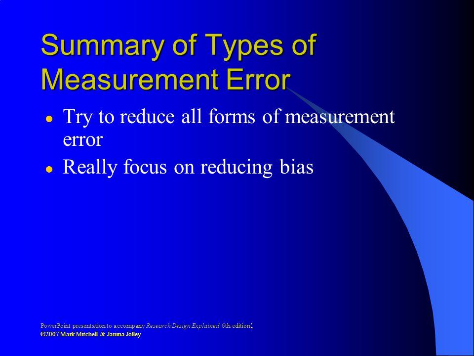 Summary of Types of Measurement Error