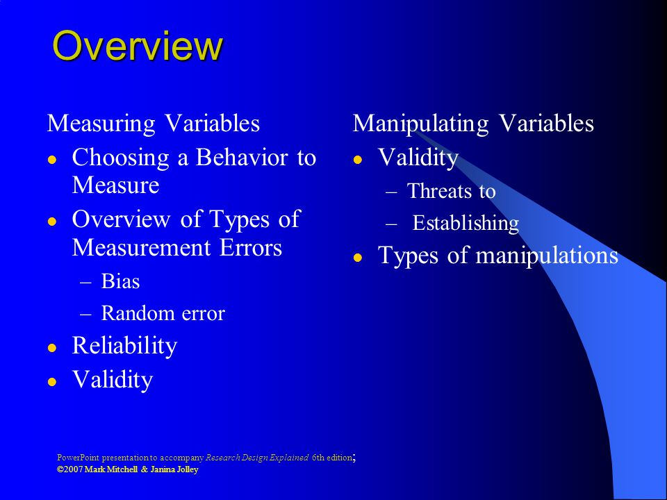Overview Measuring Variables Choosing a Behavior to Measure
