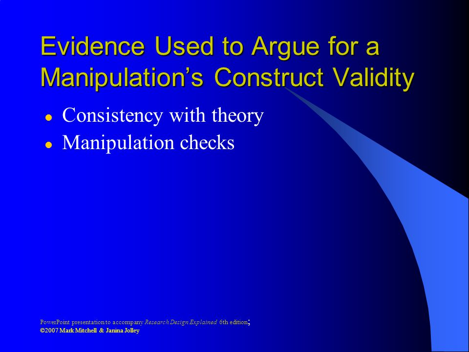 Evidence Used to Argue for a Manipulation's Construct Validity