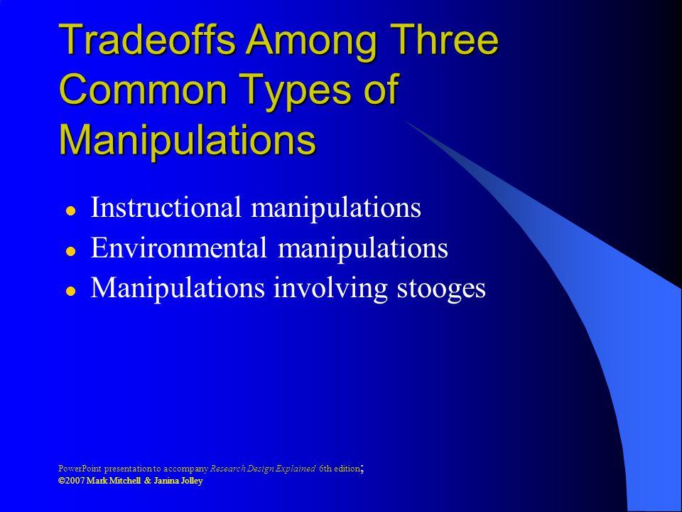 Tradeoffs Among Three Common Types of Manipulations