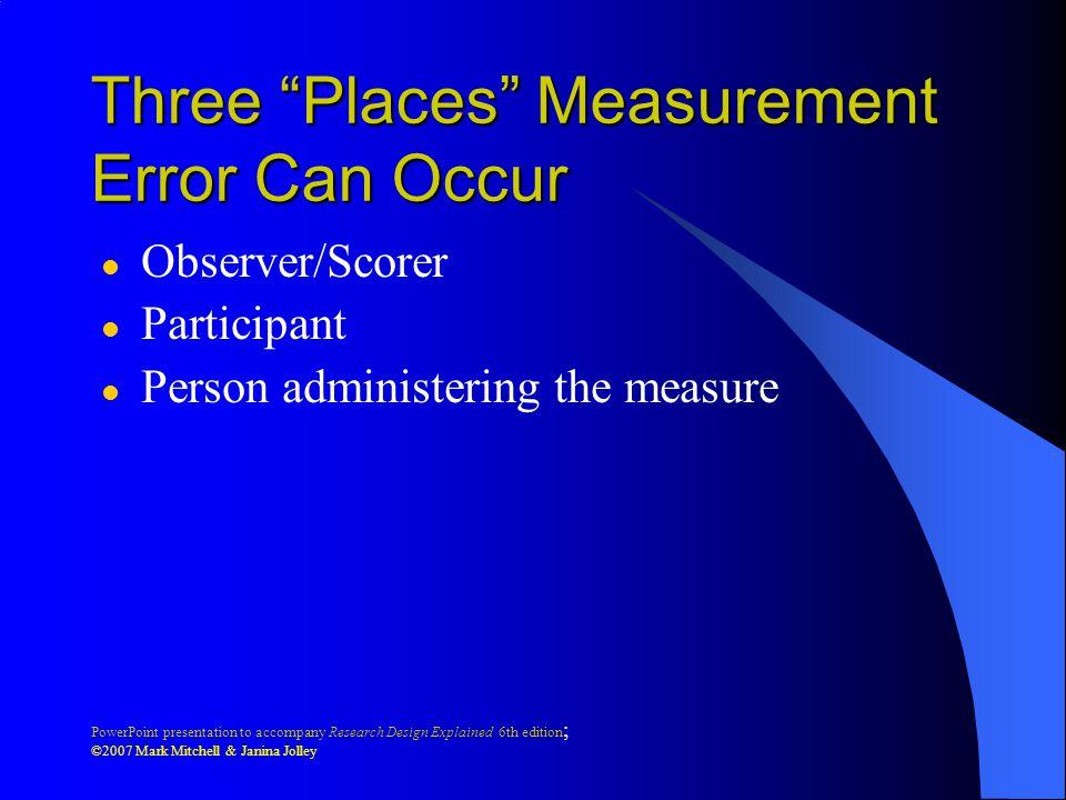 Three Places Measurement Error Can Occur