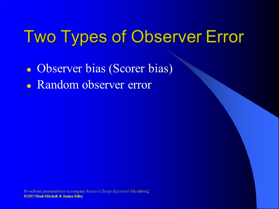 Two Types of Observer Error