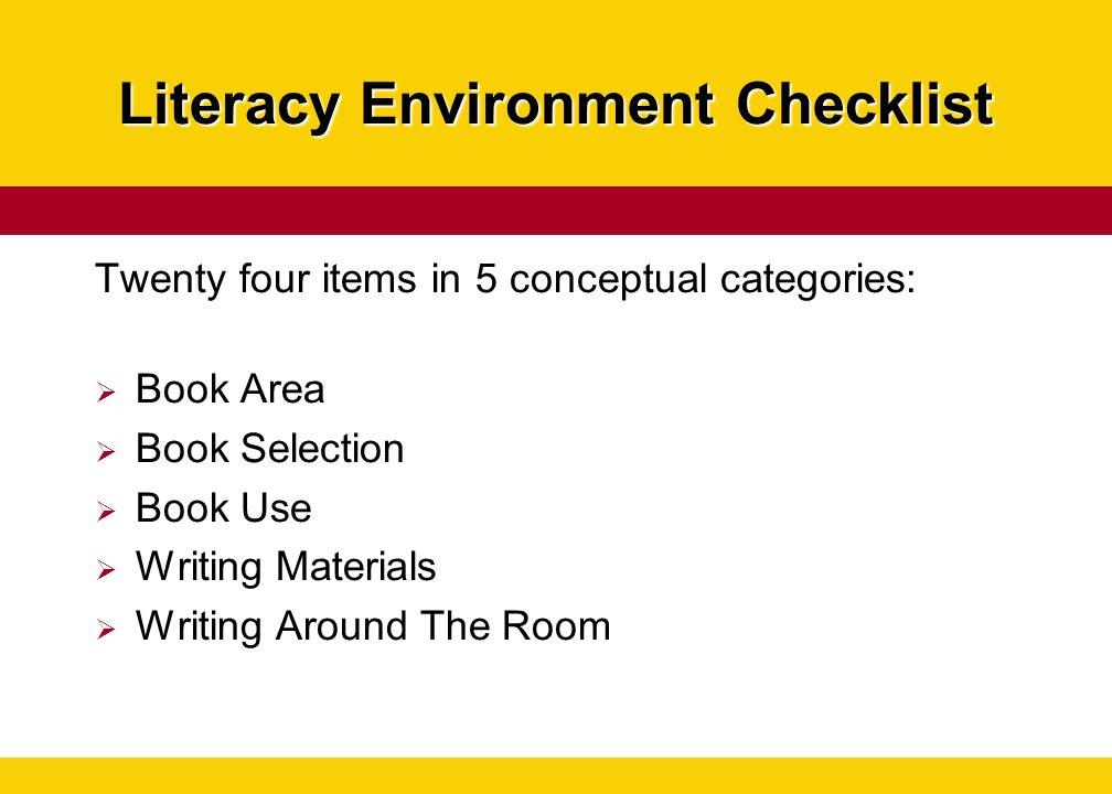Literacy Environment Checklist