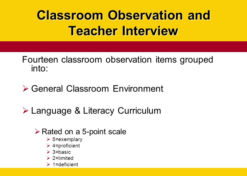 Classroom Observation and Teacher Interview