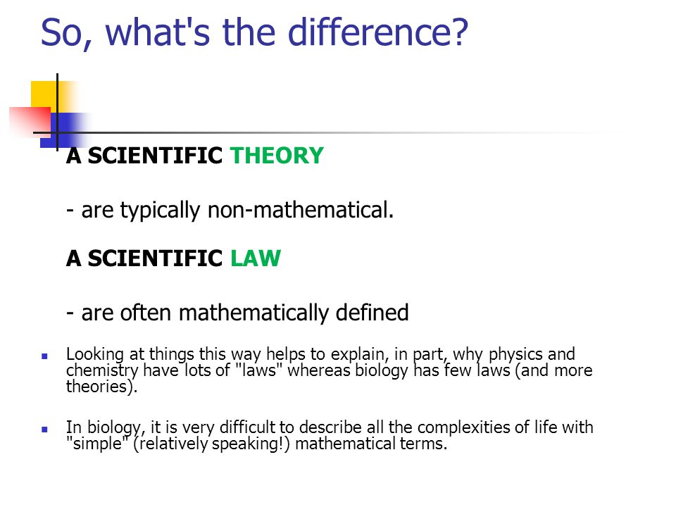 Differences and similarities of scientific laws and theories