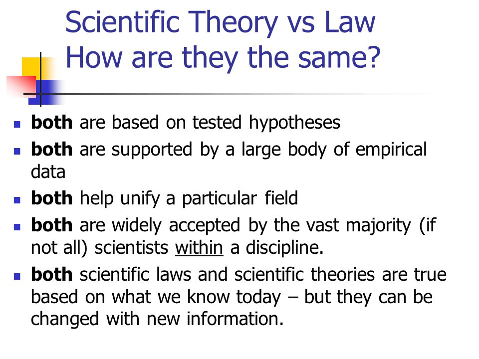 Scientific Theory vs Law How are they the same