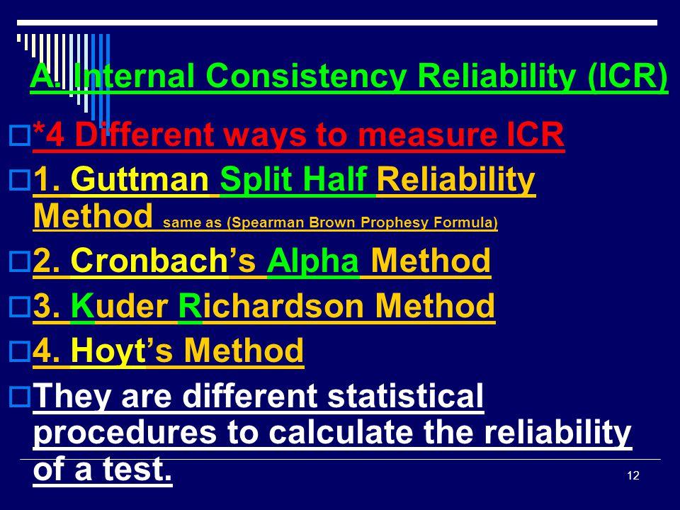 A. Internal Consistency Reliability (ICR)