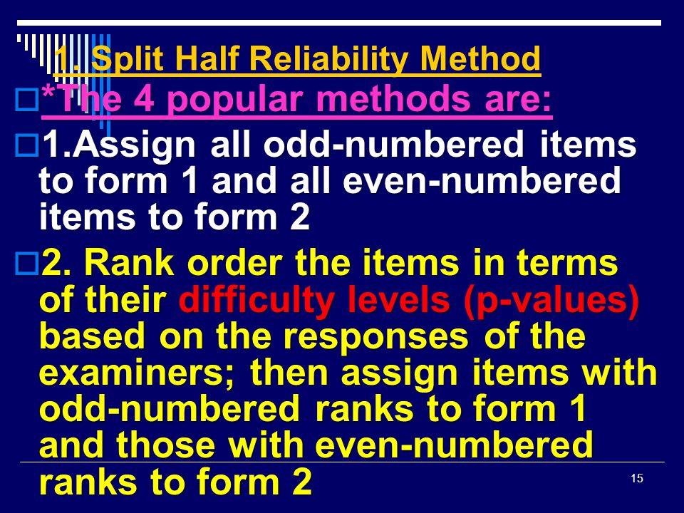 1. Split Half Reliability Method