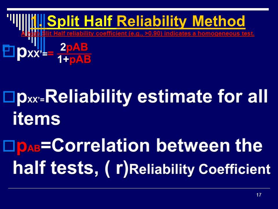 1. Split Half Reliability Method A high Slit Half reliability coefficient (e.g., >0.90) indicates a homogeneous test.