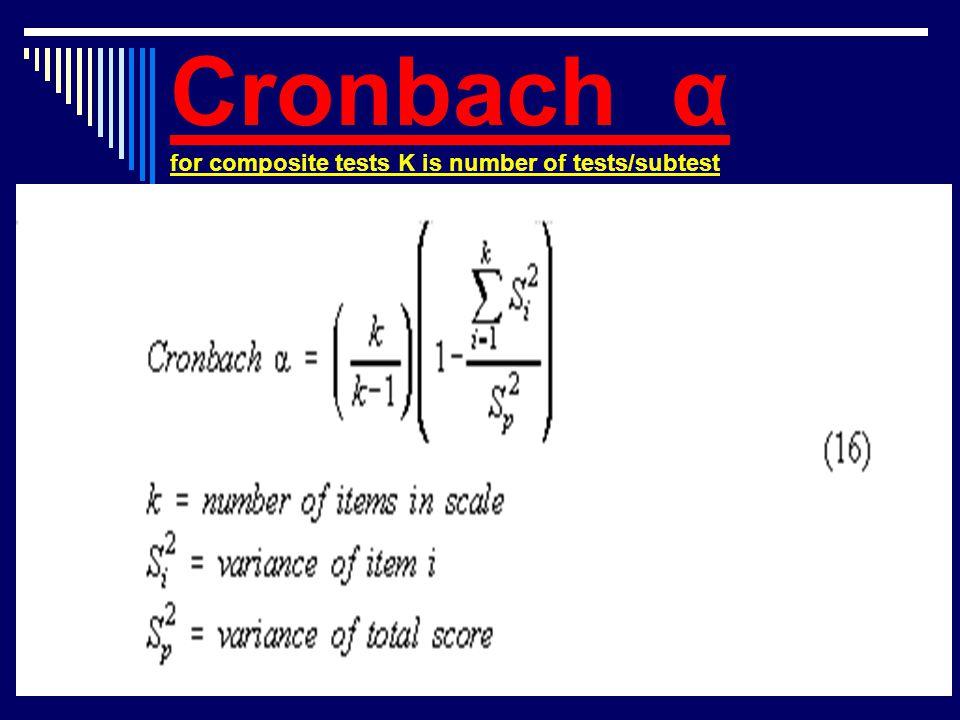 Cronbach α for composite tests K is number of tests/subtest